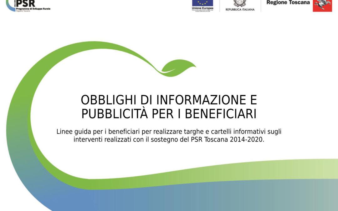 Linee guida per i beneficiari del PSR Toscana 2014-2020
